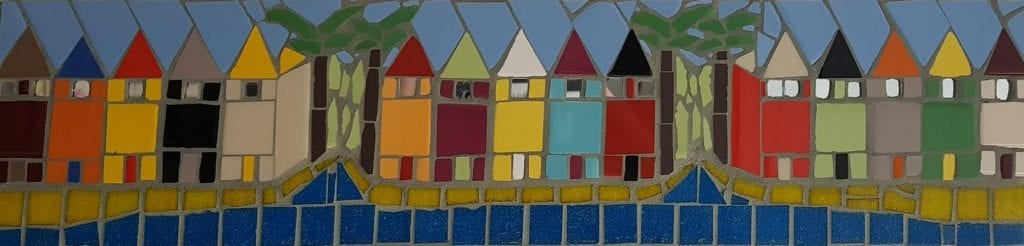 Beach Hut mosaic by Peter Charlish