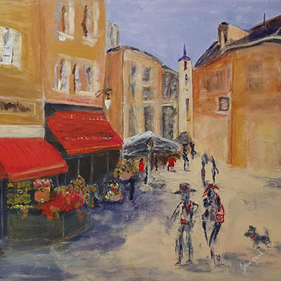 Village St In Provence by Jacqui Cousins